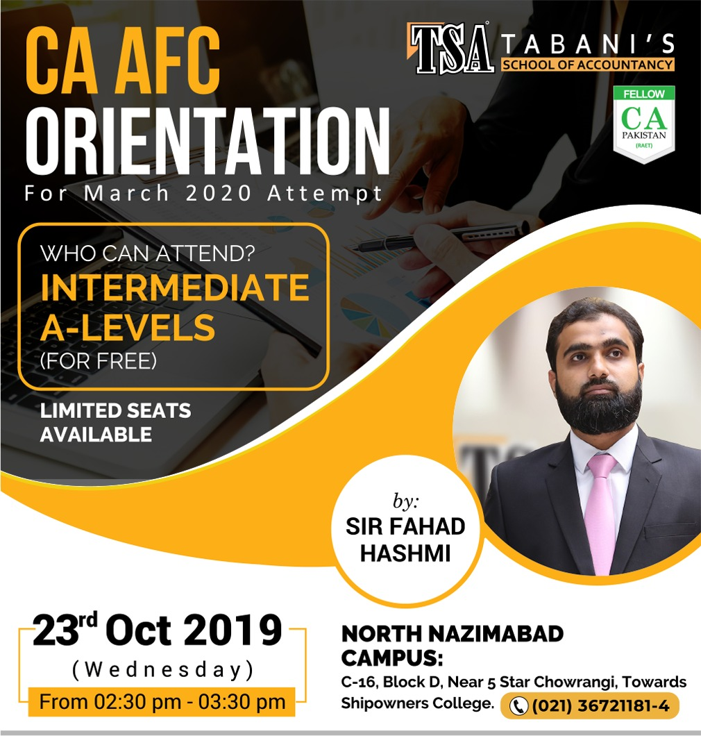 CA - AFC Orientation Session for ICAP March 2020 Attempt